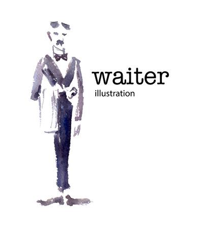 Aquarell Vektor-Illustration der Kellner auf weißem Hintergrund.
