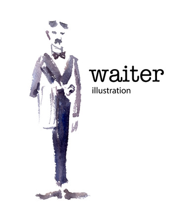 butler: Watercolor vector illustration of waiter on white background.