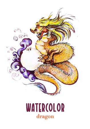 tatouage dragon: �tabli Aquarelle main portrait de dragon chinois avec grosse perle. illustration artistique animaux sur fond blanc.