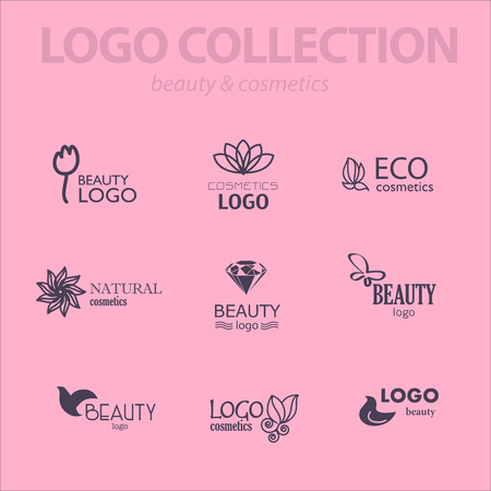 health beauty: Set of beauty industry and fashion logo. Identity for beauty companies, ecological cosmetics business, natural beauty centers or spa salons. Also may be used for wellness centers or yoga and medicine companies and clinics.