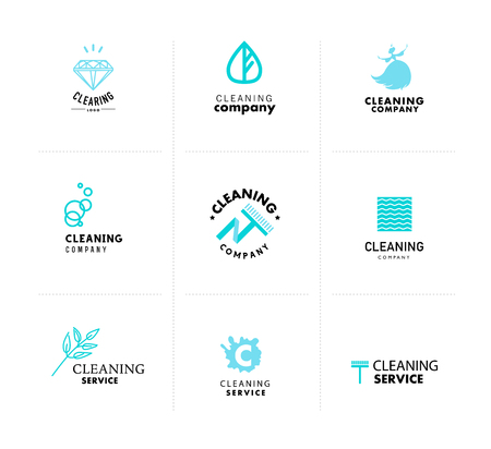cleaning: Vector collection of flat logo for cleaning company. Clearing service insignia. Cleaning industry flat icons.