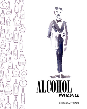 wine card: Vector menu template with bottles and watercolor waiter. Wine card design. Vector collection of different shaped bottles on white background. Grey stroke.