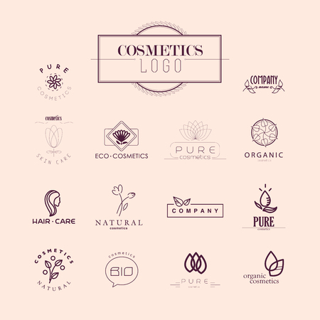 natural make up: Vector collection of cosmetics logo identity templates. Natural and eco product label. Organic cosmetics and health care insignia. Stock Photo