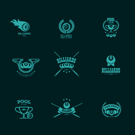 league: Vector collection of billiard logo. Poolroom icons set with cues, balls, ribbons, laurel wreath, stars. Sport label design, competition banner template. Illustration