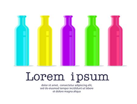 tipple: Collection of vector bottles on white background. Colorful plastic bottle illustration with text design.