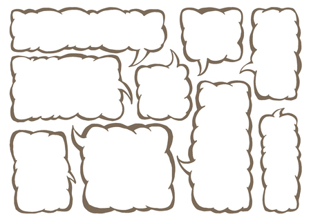 messege: Vector set of squared text ballonos. Group of vector comics messege bubbles.