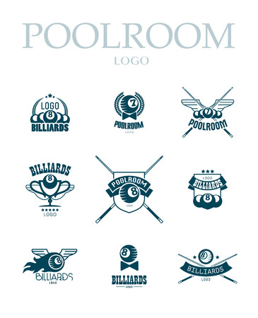 cues: Vector collection of billiard logo. Poolroom icons set with cues, balls, ribbons, laurel wreath, stars. Sport label design, competition banner template. Illustration
