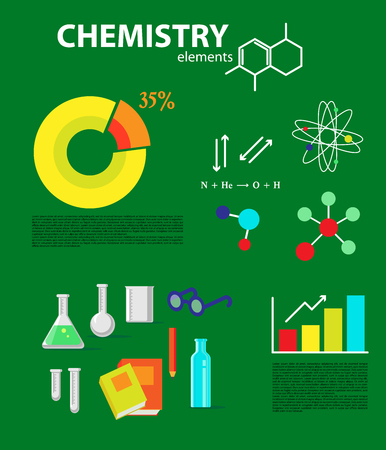 medical technology: Chemistry flat icons collection. Infographics illustration. Medical methods and technology. Science flat illustration design with squared and round diagrams, formulas, elements, atom, glass bottles and text space.