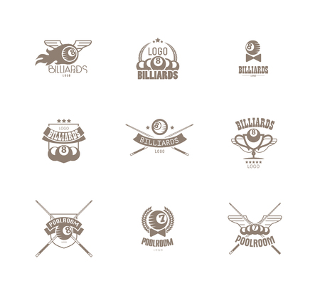 Vector collection of billiard logo. Poolroom icons set with cues, balls, ribbons, laurel wreath, stars. Sport label design, competition banner template. Иллюстрация