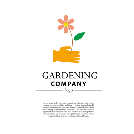 Merveilleux Vector   Vector Flat Illustration Of Gardening Company Logo With Text  Place. Gardening Flat Icons Collection.