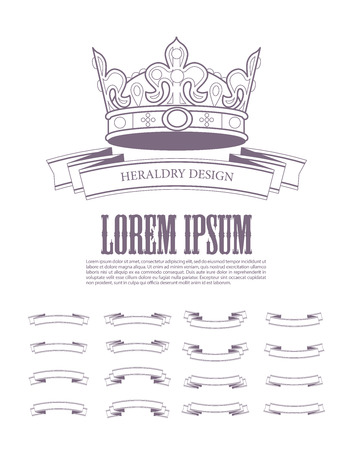 aristocracy: Vector heraldic elements design. Crown, ribbon collection. Ancient beauty and haraldry elements insignia. Traditional aristocracy signs. Heraldry template.