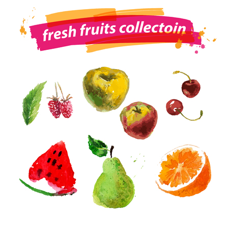 articles: Vector set of watercolor fruits on white background. Fresh food illustration. Good for magazine and book articles, poster design, restaurant menu template.
