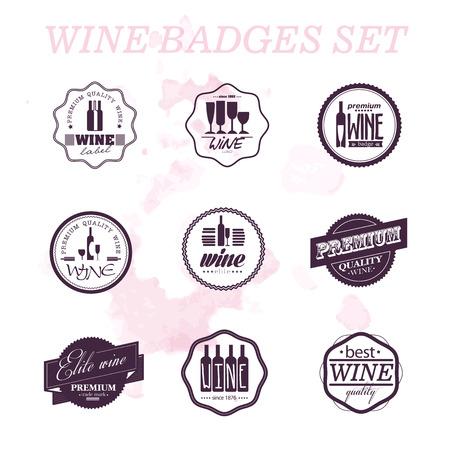wine trade: Vector collection of wine badges. Wine spot background. Set of wine logo. Wine Label trade mark. Alcohol logo set. Illustration