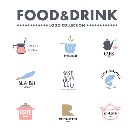 Vector set of restaurant logo design tempaltes. Eco food, fast food, sushi, pizza icons, fish and sea food company insignia. Coffee and tea icons. Dish elements icons design.