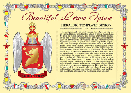 charter: Vector template of heraldic charter with helmet, crown, shield, decorative antique frame and text space. Illustration