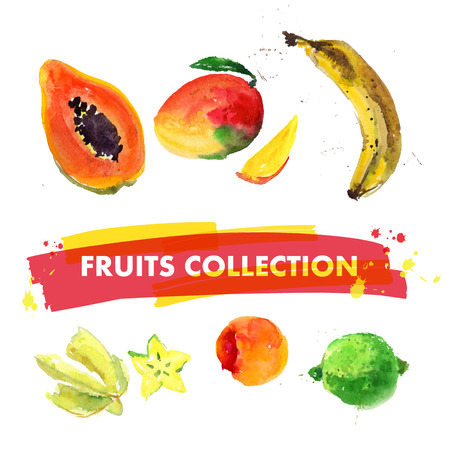 mixed fruit: Vector set of watercolor fruits on white background. Fresh food illustration. Good for magazine and book articles, poster design, restaurant menu template.