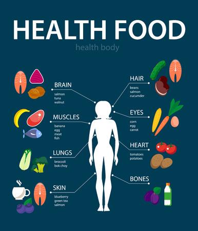 comida rica: Vector conjunto de iconos y elementos de alimentos frescos y la salud. ejemplo de la comida plana con elementos infográficos. Bueno para cualquier diseño gráfico y la ilustración revista o libro.