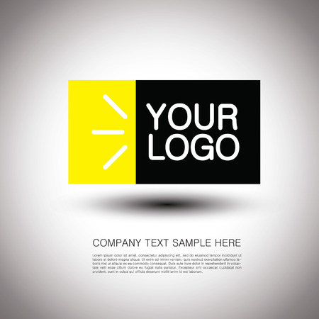 Abstract vector logo design with rays, rectangles and text space on light background with shadow. Geometric shapes. Business logo insignia template. Good for any company identity.