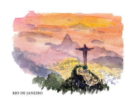 Vector watercolor illustration of Brazil sightseeings and seacoast with text place. Good for warm memory postcard design, any graphic design or book illustration. Ilustrace