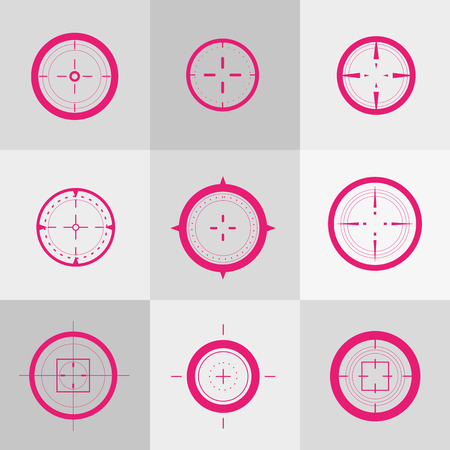 bullet: Collection of vector targets. Different crosshair icons. Aims templates. Shooting marks design. Illustration