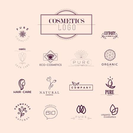Raccolta vettore di cosmesi logo modelli di identità. L'etichetta del prodotto naturale ed ecologico. Prodotti cosmetici biologici e assistenza sanitaria insegne.
