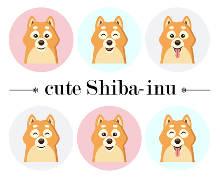 husky puppy: Vector illustration of cute Siba-inu dog. Puppy, doggy character. Print design.