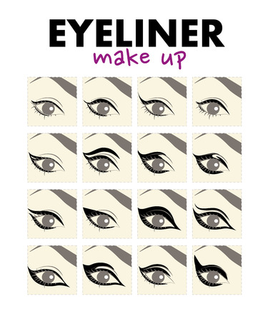 Vector flat illustration of eyeliner make up. Eye make up and eyeline drawing examples. Illustration