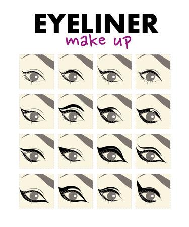 Vector flat illustration of eyeliner make up. Eye make up and eyeline drawing examples. Иллюстрация