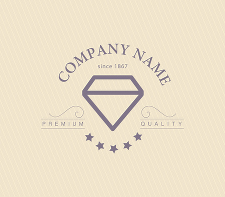 round logo: Vector jewelry and diamond logo template. Flat crystal company insgnia template. Jewellers brand identity design.