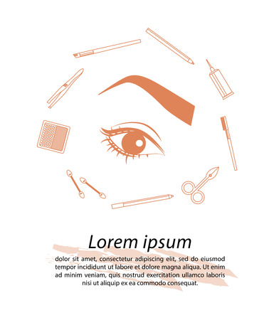 eyebrow makeup: Vector flat beauty industry icons design. Cosmetics label or brand insignia signs template.