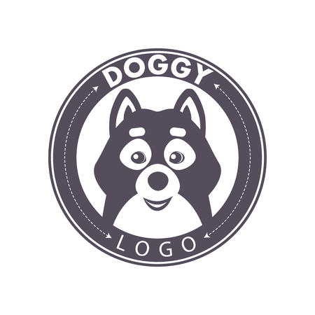 dog tag: Vector template design of dog logo. Logo for pet club or shop, doggy center or barbery, sport dog club, veterinary clinic. Cute dog icons set. Flat logo design. Also may be used for hunting club emblem.