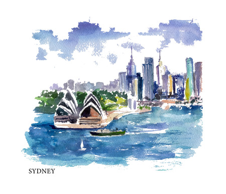 sydney: Vector watercolor illustration of Australia sightseeings and seacoast with text place. Good for warm memory postcard design, any graphic design or book illustration.