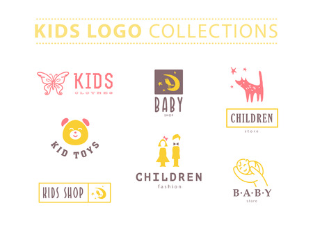 kid smile: Vector collection of baby logo. Kids fashion label design. Children clothes brand. Baby and kid store insignia template. Illustration