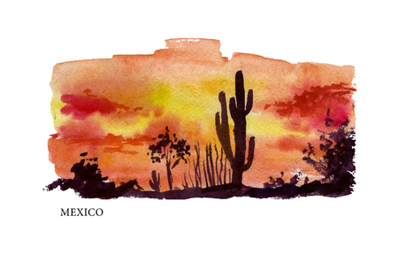 sightseeings: Vector watercolor illustration of Mexico sightseeings with text place. Good for warm memory postcard design, any graphic design or book illustration.