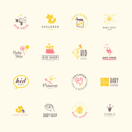 Vector collection of baby logo. Kids fashion label design. Children clothes brand. Baby and kid store insignia template. Stock Illustratie