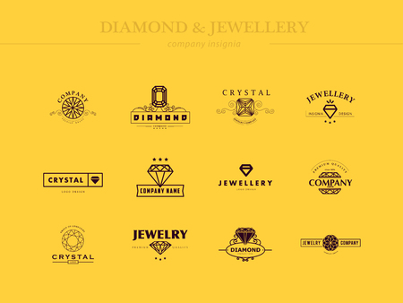 Vector collection of jewellery and diamond logos. Flat crystal company insgnia template. Vintage logo design.