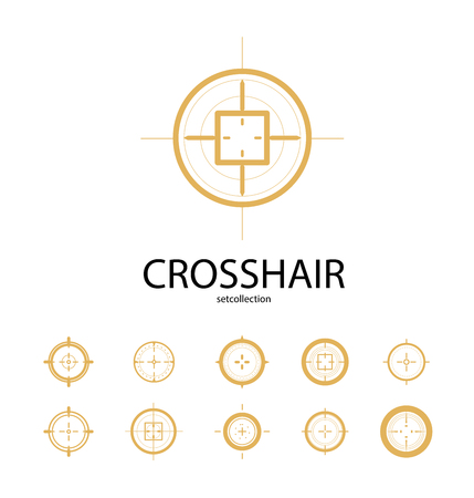 targets: Collection of vector targets. Different crosshair icons. Aims templates. Shooting marks design. Illustration