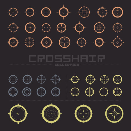 bullseye: Collection of vector targets. Different crosshair icons. Aims templates. Shooting marks design. Illustration