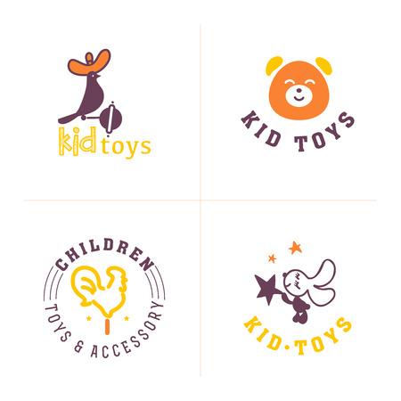 fashion label: Hand drawn vector collection of baby logo. Kids fashion label design. Children clothes brand. Baby and kid store insignia. Illustration