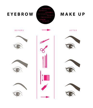 eyebrow makeup: Vector flat eyebrow make up illustration design. Cosmetic icons and make up elements template isolated on white background.