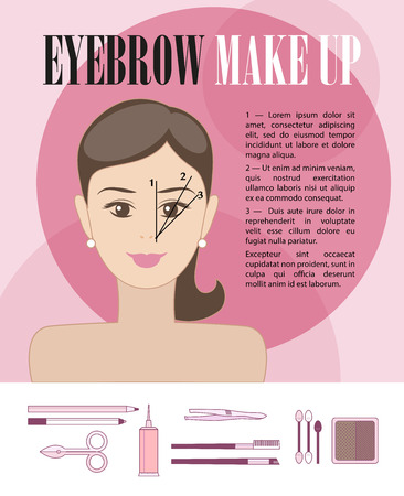 Vector flat illustration of eyebrow make up instruction with young girl face and cosmetics icons isolated on white background.