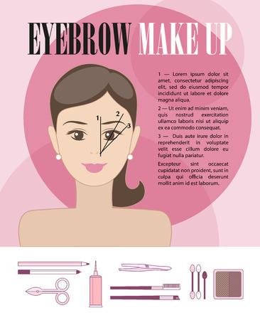 Vector vlakke illustratie van de wenkbrauw make-up instructie met jonge meisje gezicht en cosmetica iconen op een witte achtergrond. Vector Illustratie