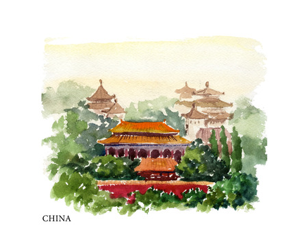 sightseeings: Vector watercolor illustration of China sightseeings and seacoast with text place. Good for warm memory postcard design, any graphic design or book illustration.