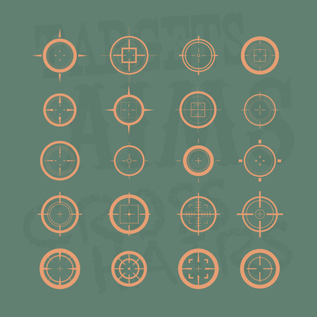 cross armed: Collection of vector targets. Different crosshair icons. Aims templates. Shooting marks design. Illustration