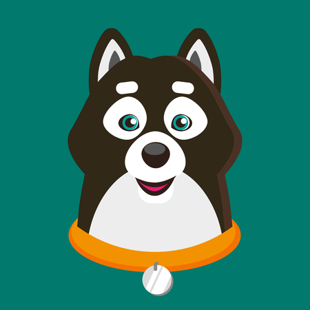 Vector illustration of cute Siba-inu dog. Puppy, doggy character. Print design.