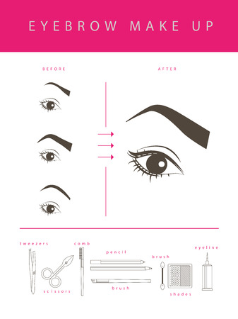 eyebrow: Vector flat eyebrow make up illustration. Cosmetics icons and make up elements template isolated on white background.