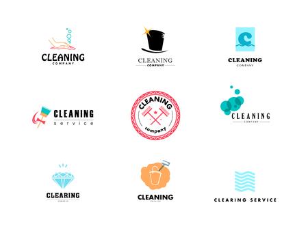 Colección de vector de logotipo plana para empresa de limpieza. Eliminación de las insignias del servicio. Limpieza de iconos planos de la industria. Foto de archivo - 50956016