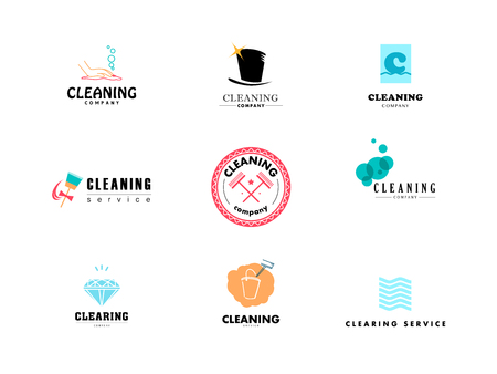 clearing: Vector collection of flat logo for cleaning company. Clearing service insignia. Cleaning industry flat icons.
