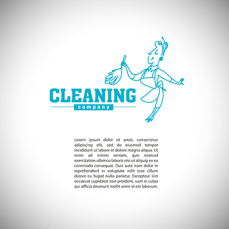whisk broom: Vector logo template for cleaning company or service with text place. Hand drawn woman silhouette. Washing insignia. Illustration