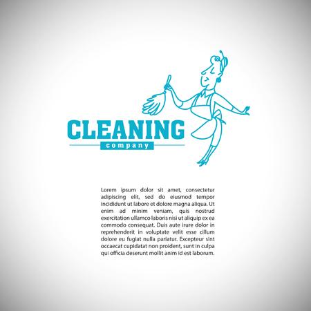 Vector Logo-Vorlage für Unternehmen oder eine Dienstleistung mit Text Ort zu reinigen. Hand gezeichnet Frau Silhouette. Waschen Abzeichen. Logo